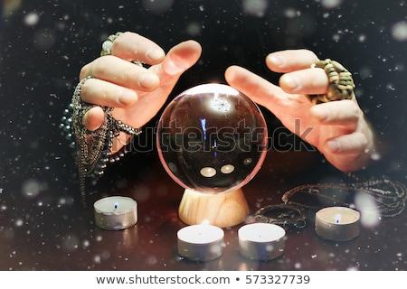 Mágikus labda kezek mérges boszorkány néz Stock fotó © MilanMarkovic78