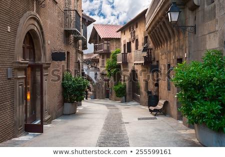 Barcelona sokak geleneksel beyaz duvarlar mimari Stok fotoğraf © neirfy