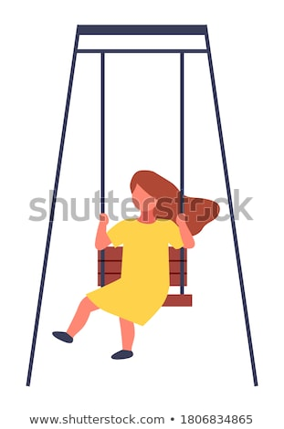 Stock photo: Little Girl Having Fun On A Swing In The Playground Vector. Isolated Illustration