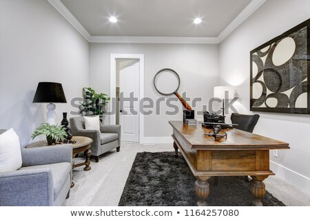 Home office modern interior with large wooden table and view of the back yard Stock photo © iriana88w