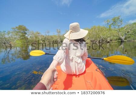 sonriendo · hombre · remo · kayak · retrato · lago - foto stock © kzenon