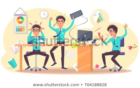 Businessman Throwing Keyboard Vector Illustration Stock photo © robuart