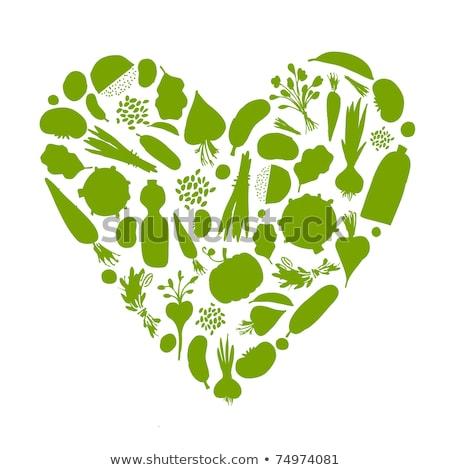 gezonde · voeding · hart · geïsoleerd · witte · groene · plantaardige - stockfoto © popaukropa