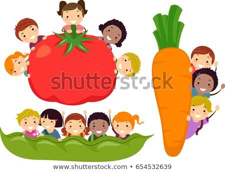 stickman kids vegetable border illustration stock photo © lenm