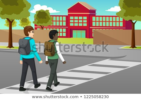 Students Crossing the Street to Schooll Illustration Stock photo © artisticco