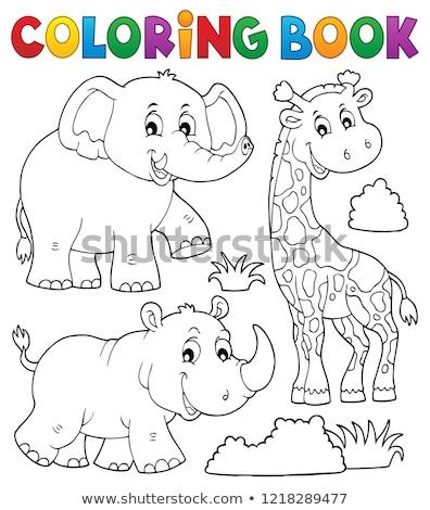 вектора · жираф · носорог · слон · Африка · дерево - Сток-фото © clairev