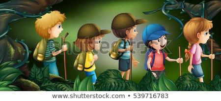 Cinco ninos senderismo bosques ilustración árbol Foto stock © colematt