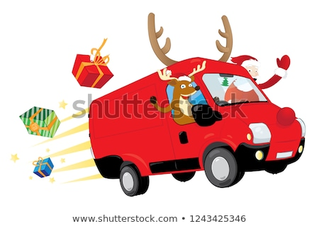 vector · cartoon · christmas · vrachtwagen · levering · formaat - stockfoto © pcanzo
