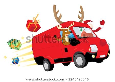 смешные Рождества северный олень Дед Мороз вождения красный Сток-фото © pcanzo