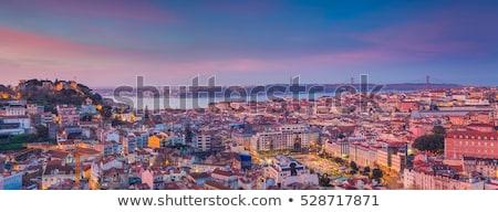 Lisszabon sziluett szürkület Portugália kilátás történelmi Stock fotó © joyr