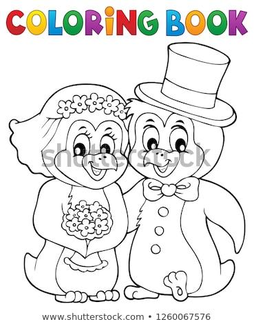 Libro da colorare pinguino wedding fiore libro felice Foto d'archivio © clairev
