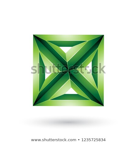 green 3d geometrical embossed square and triangle x shape vector stock photo © cidepix