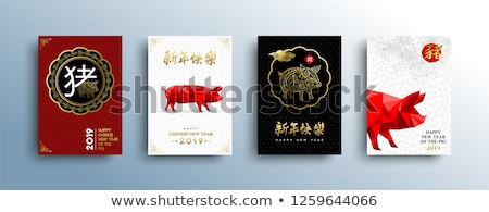 Chinese New Year 2019 low poly red pig card set Stock photo © cienpies