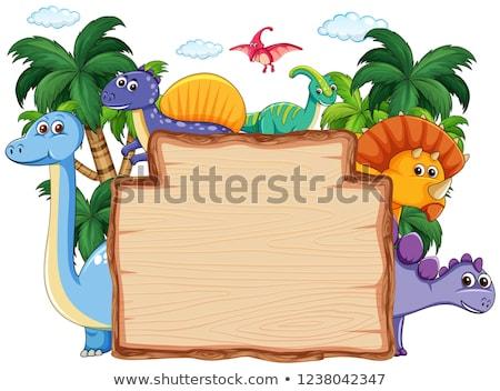 Many dinosaur frame template Stock photo © colematt