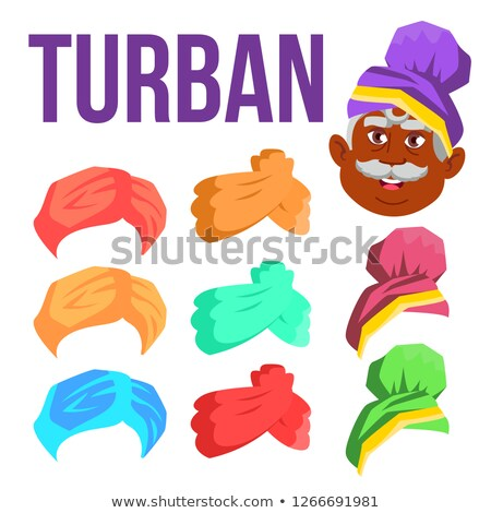 Turban Vector. Indian, Arabic Head Cap, Hat. Bedouin Headdress. Isolated Cartoon Illustration Stock photo © pikepicture