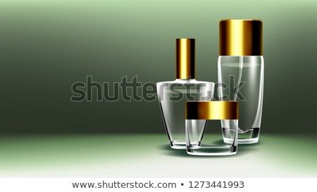 Cosmetic Glass Product Vector. Fragrance, Collagen. Spa, Makeup. Bottle. Jar. 3D Isolated Transparen Stock photo © pikepicture