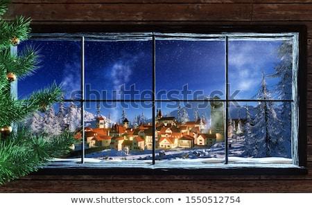 Fából készült fülke három ablakok illusztráció terv Stock fotó © colematt