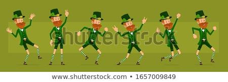 Foto stock: Cartoon · enojado · irlandés · nino · mirando · trébol