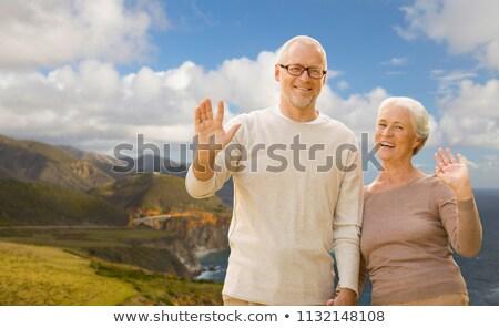 Idős pár integet kezek nagy part aggkor Stock fotó © dolgachov