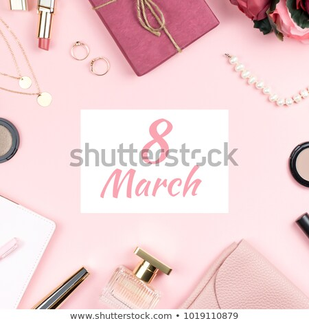 Gyönyörű rózsaszín gyöngyök boldog nőnap nők Stock fotó © SArts