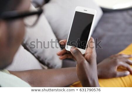 homme · puce · maison · demande · téléphone · portable - photo stock © lopolo