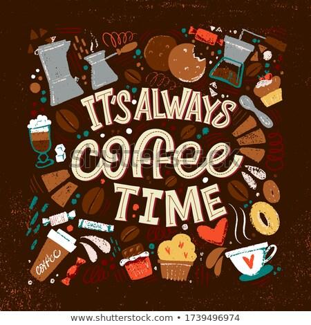 Schets beker koffie opschrift tijd stijl Stockfoto © Arkadivna