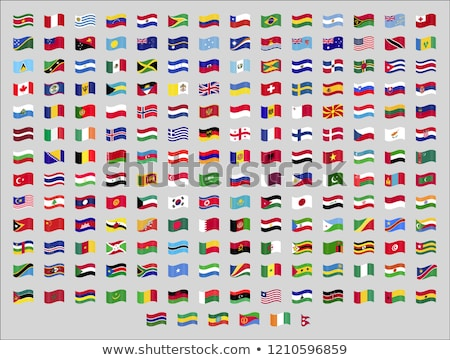 set of waving flags icons isolated official symbols of countrys vector illustration stock photo © marysan