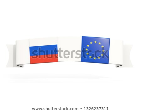 Banner with two square flags of Russia and European Union Stock photo © MikhailMishchenko