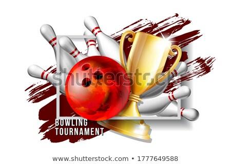 Bowling díj vektor bowling golyó arany csésze Stock fotó © pikepicture