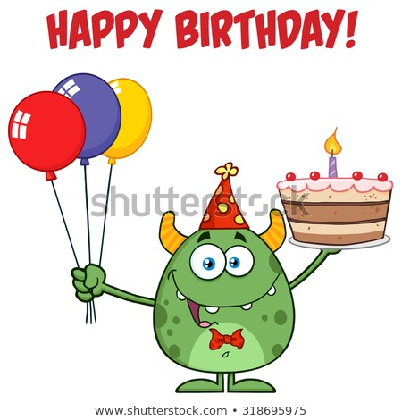 Cute Green Monster Holding Up A Colorful Balloons And Birthday Cake Stock photo © hittoon
