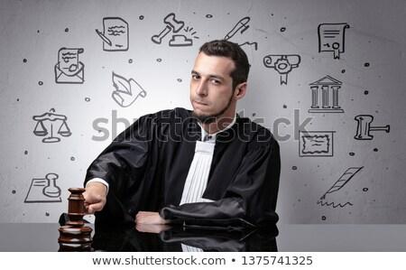 Jonge rechter rechter symbolen rond knap Stockfoto © ra2studio