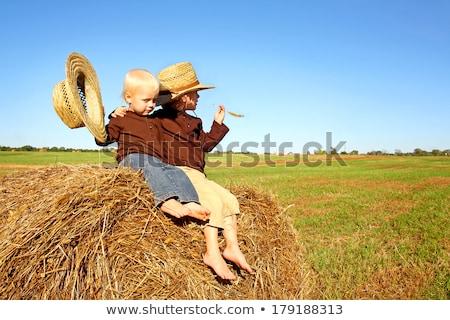 мало мальчика ковбойской шляпе синий весело Сток-фото © fanfo