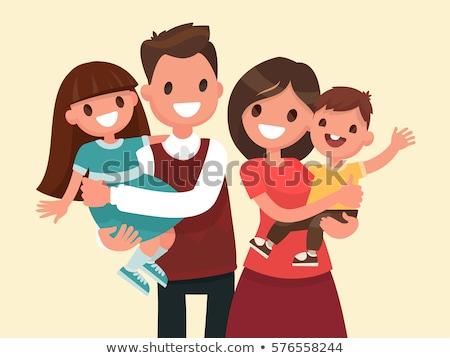 ストックフォト: 幸せな家族 · 父から息子 · 母親 · 少年 · ベクトル
