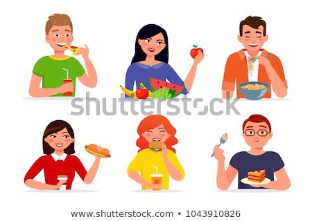 vector set of people eating Stok fotoğraf © olllikeballoon