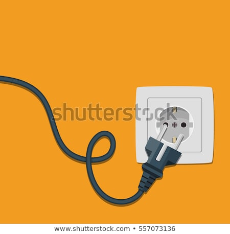 Black Power Cable With Plug And Socket Vector Foto d'archivio © pikepicture
