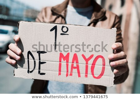 text may day in spanish in a brown signboard Stock photo © nito