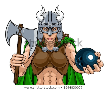 Viking vrouwelijke gladiator bowling krijger vrouw Stockfoto © Krisdog