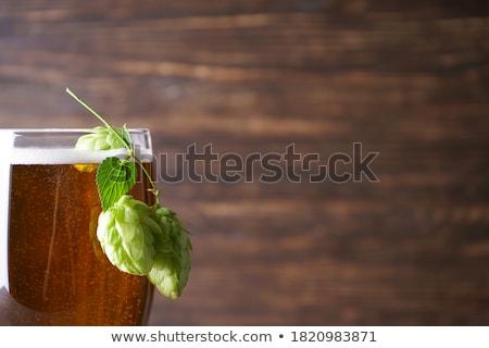 Szkła piwo jasne pełne piwa piana pęcherzyki vintage Zdjęcia stock © DenisMArt
