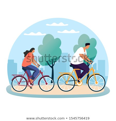 Erkek bisiklet doğa sahne örnek çim Stok fotoğraf © colematt