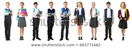 Boy and girl in school uniform Stock photo © colematt