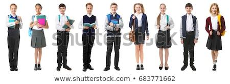 Junge Mädchen Schuluniform Illustration glücklich Kind Stock foto © colematt