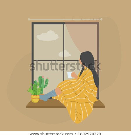 Woman on windowsill Stock photo © pressmaster
