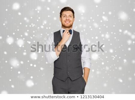 Boldog férfi ünnepi öltöny öntet buli Stock fotó © dolgachov