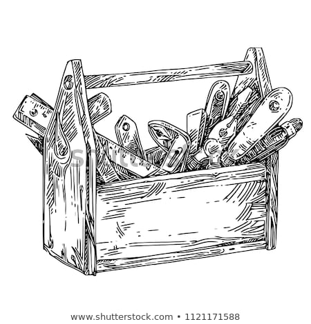Vintage houten toolbox oude instrument vector Stockfoto © pikepicture
