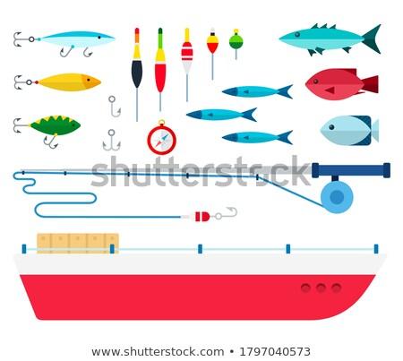 szett · különböző · halászat · kellékek · vékony · vonalak - stock fotó © kup1984