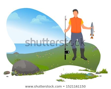 Fisch Mann Ufer sandigen Stange Fischerei Stock foto © robuart
