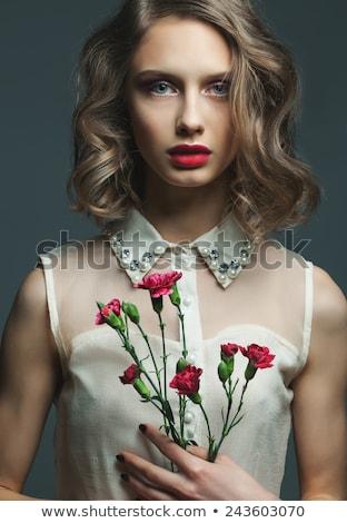 Gyönyörű fiatal modell piros ajkak francia manikűr női Stock fotó © serdechny