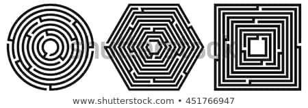 Circular laberinto forma hexágono aislado blanco Foto stock © kyryloff