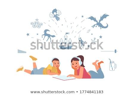 Kleur luisteren muziek hoofdtelefoon vector Stockfoto © pikepicture