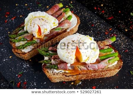 yumurta · tost · jambon · sos · bıçak · ekmek - stok fotoğraf © danielgilbey